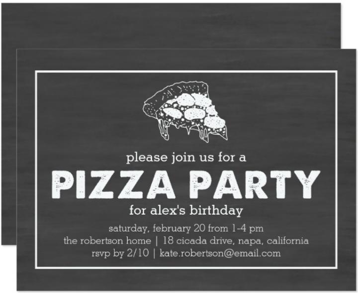 black and white pizza party invitation template e1522142276496