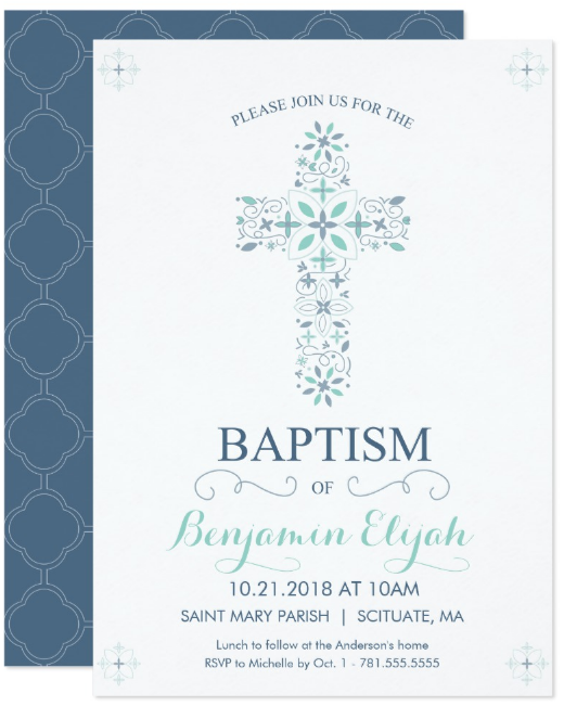 blue christening invitation template
