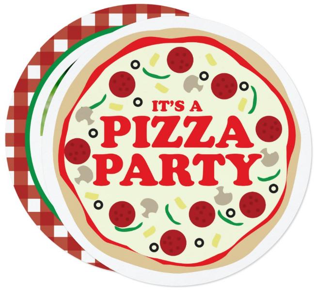 circle pizza party invitation template