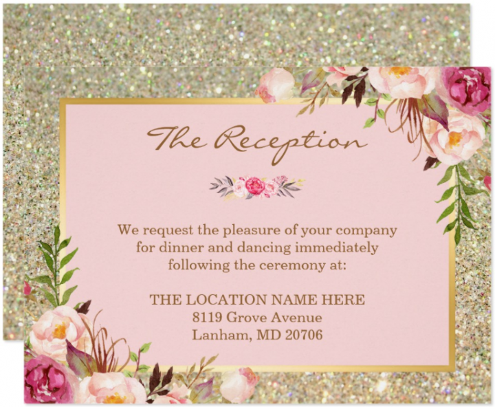 class-pink-floral-wedding-reception-card-template