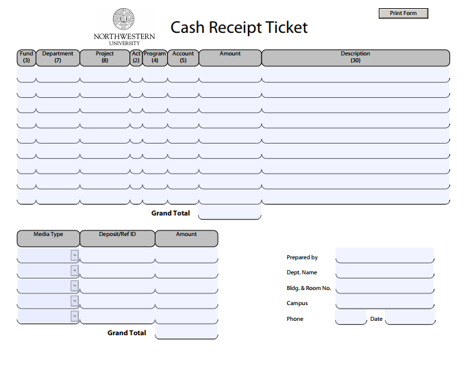 cash receipt ticket template