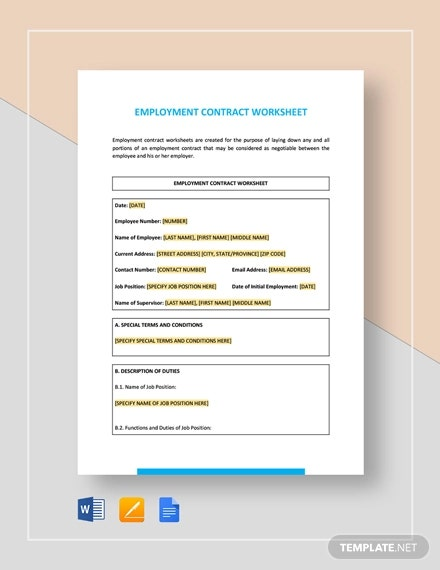 employee contract worksheet