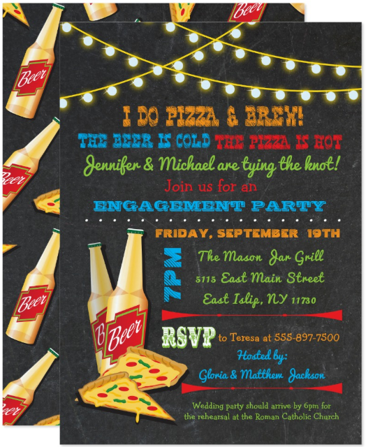 engagement and pizza party invitation template