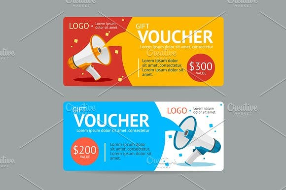 flat design shopping voucher template
