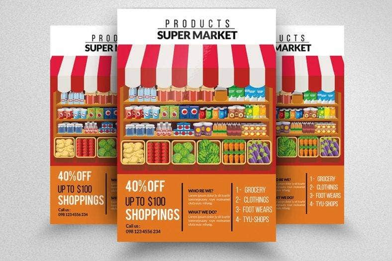 flat supermarket flyer template 788x526