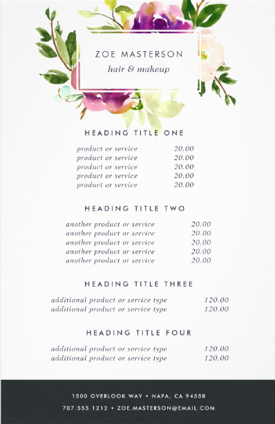 floral watercolor hair salon flyer