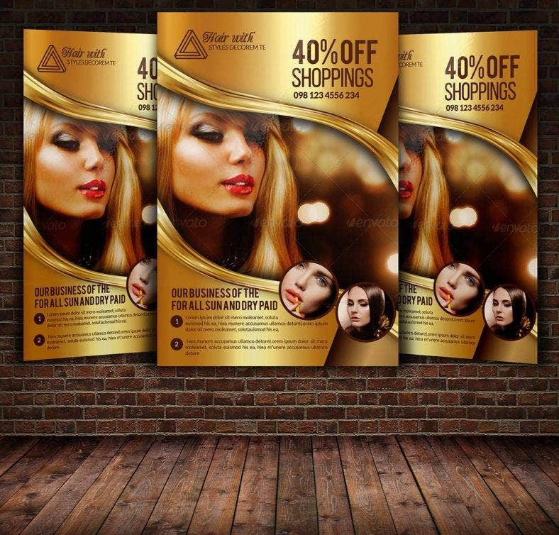 gold hair salon flyer 788x754