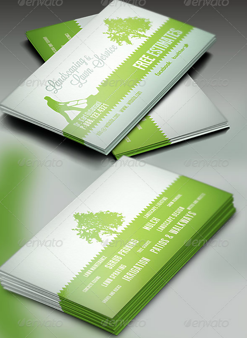Landscaping Business Card Designs Templates PSD AI Free - Landscaping business card template