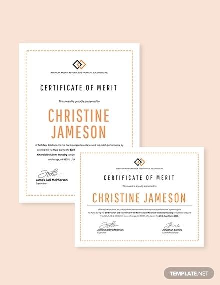 Merit Award Certificate
