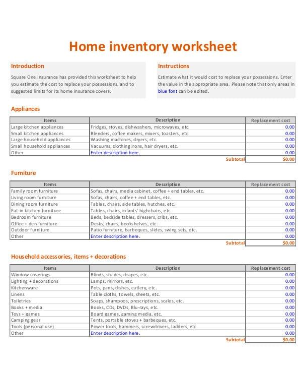 printable home inventory worksheet