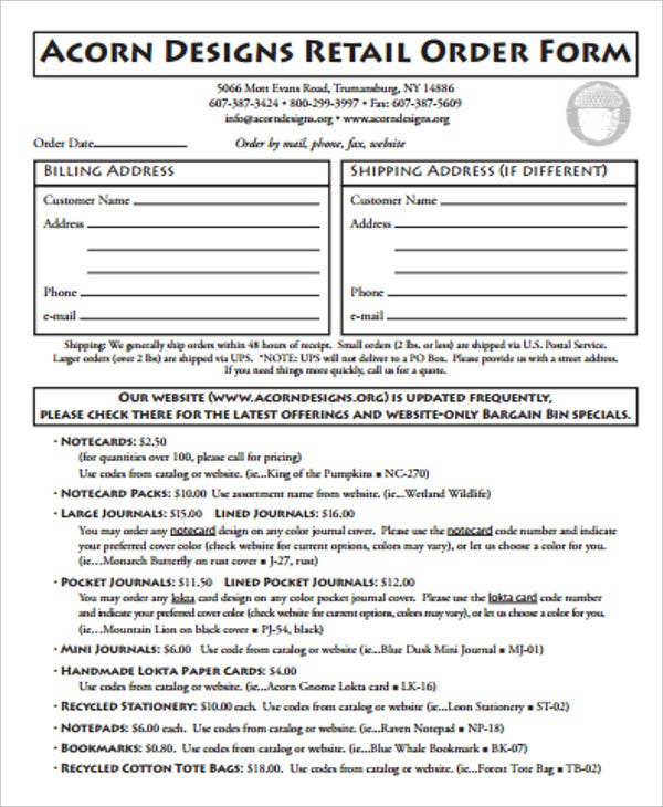 retail order form example