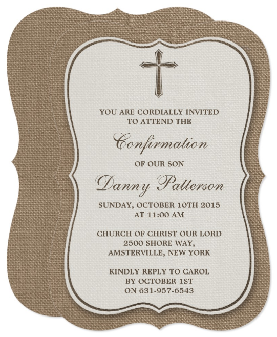 rustic christening invitation template