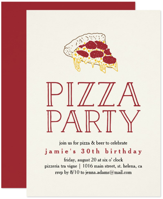 rustic pizza party invitation template