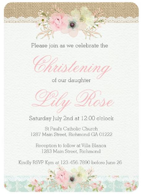 shabby chic christening invitation template
