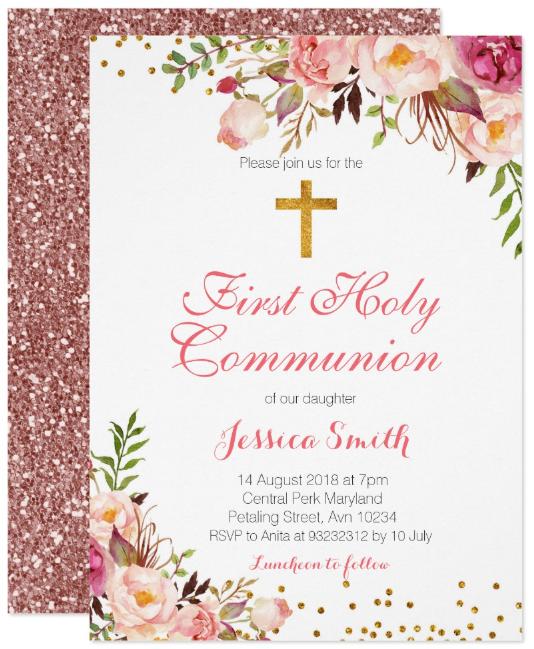 spring floral christening invitation template