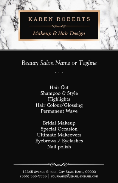 trendy white hair salon flyer