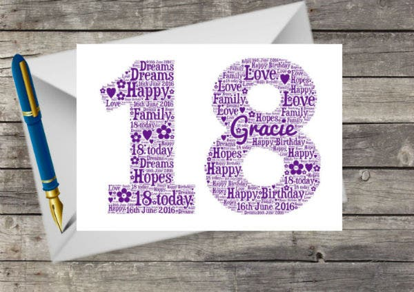 13 18th Birthday Card Designs Templates PSD AI