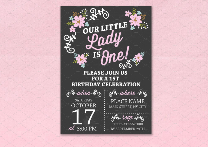 14 creative chalkboard birthday invitation templates for First birthday board template