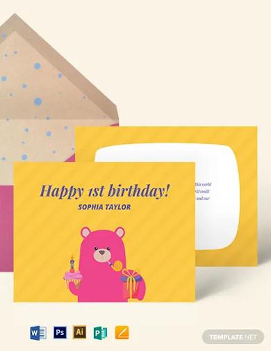 1st birthday greeting card template