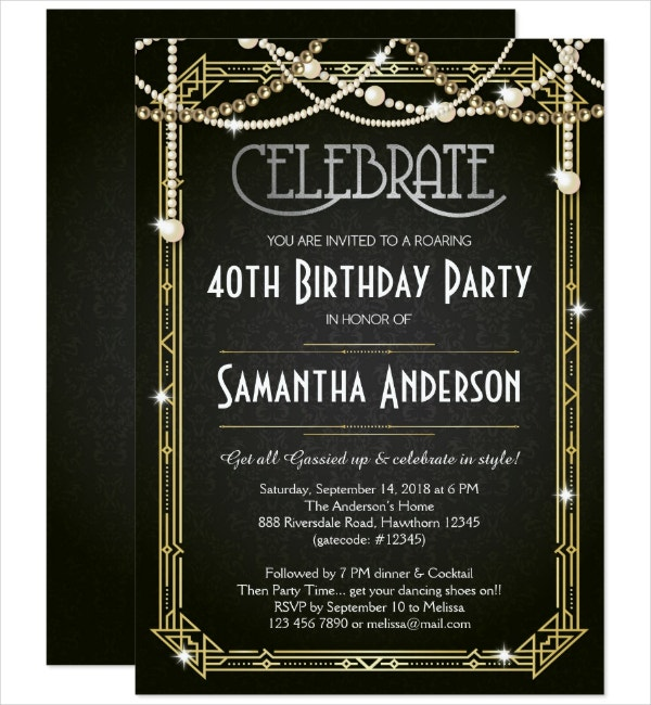 40th Birthday Art Deco Invitation