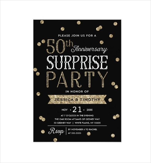 50th Anniversary Glitter Announcement Card