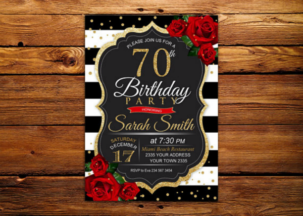 14 70th Birthday Invitation Card Templates Designs PSD AI