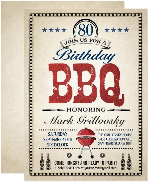 80th bbq birthday invitation template