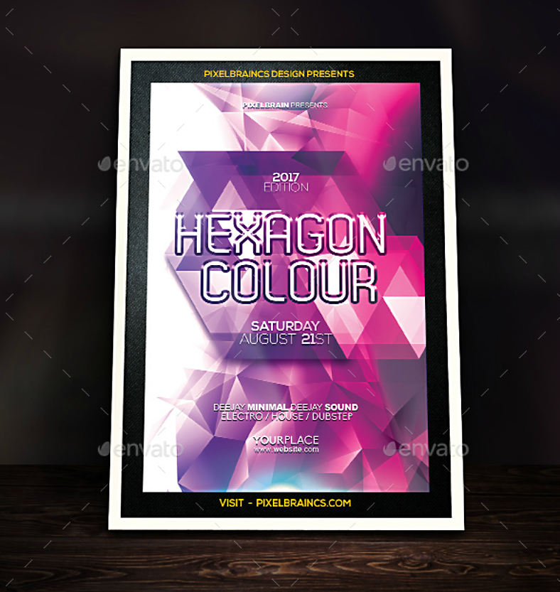 abstract hexagon colors flyer template 788x833