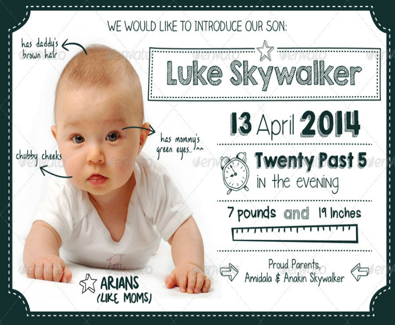 Adorable Doodle Baby Announcement Template