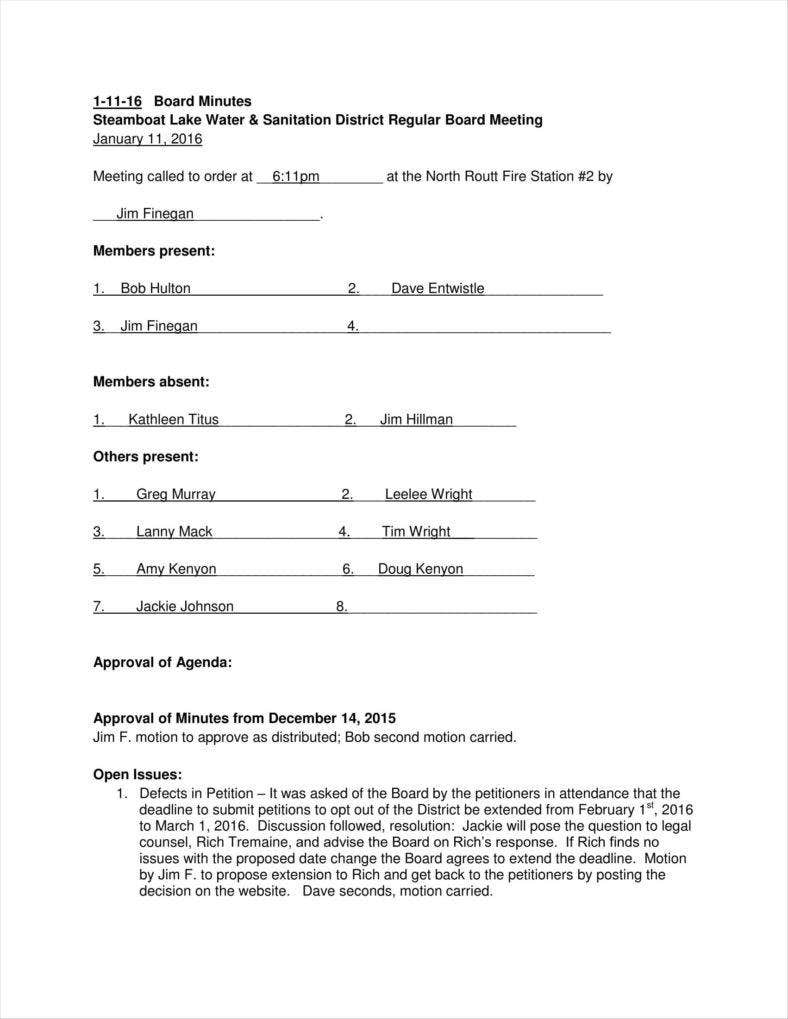 annual board minutes meeting summary template 788x1019