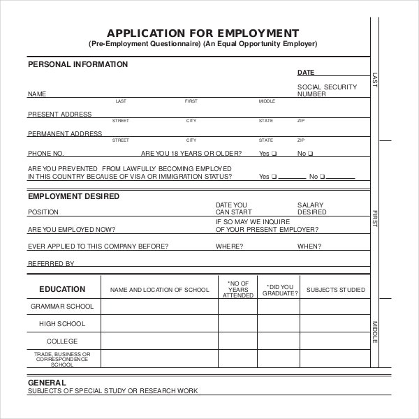 4 employment application form templates pdf free premium templates. Black Bedroom Furniture Sets. Home Design Ideas