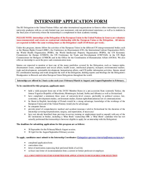 Application for Internship Form