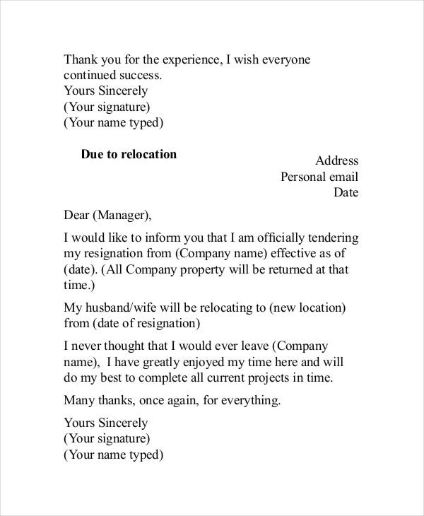 Appreciation Resignation Letter To Employer
