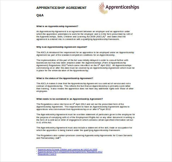 apprenticeship agreement