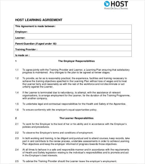 9 Apprenticeship Agreement Templates Pdf Doc Free Premium