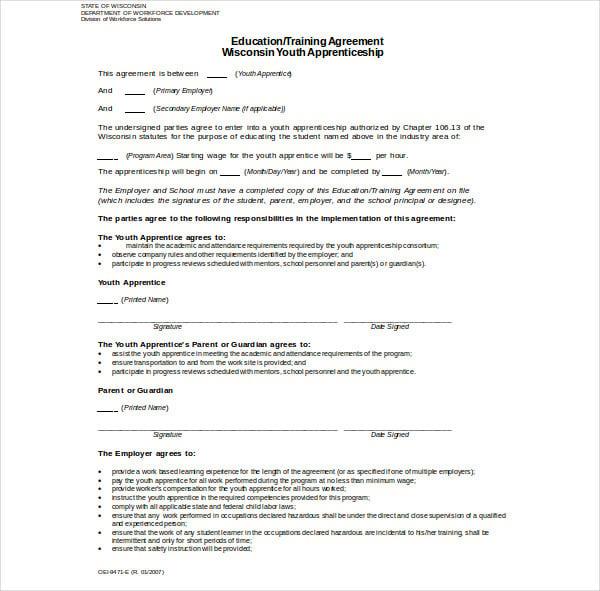 apprenticeship training agreement