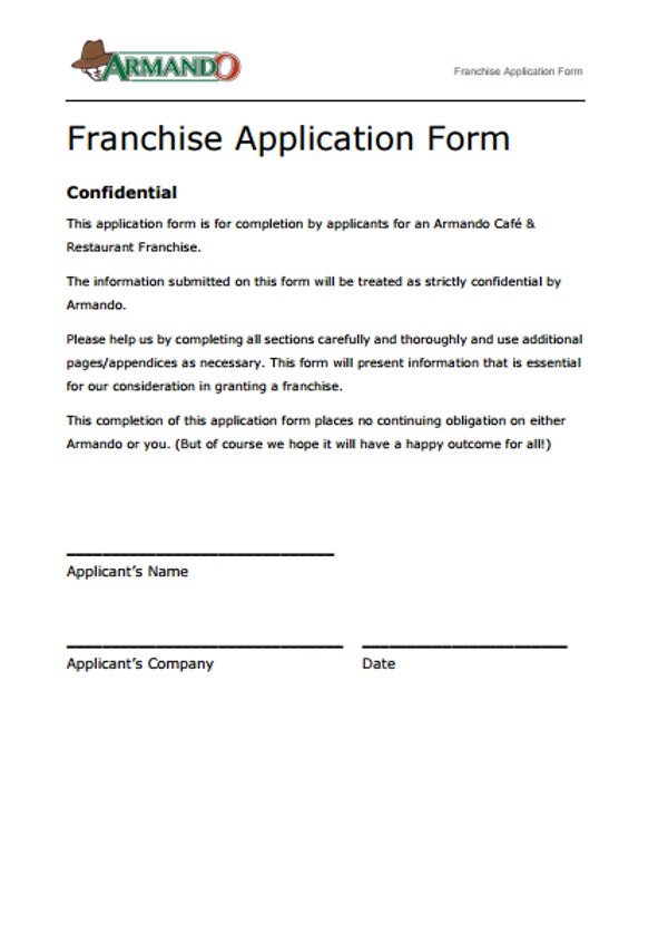 Armando Cafe And Restaurant Franchise Application Form