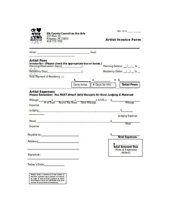 artist-invoice-form
