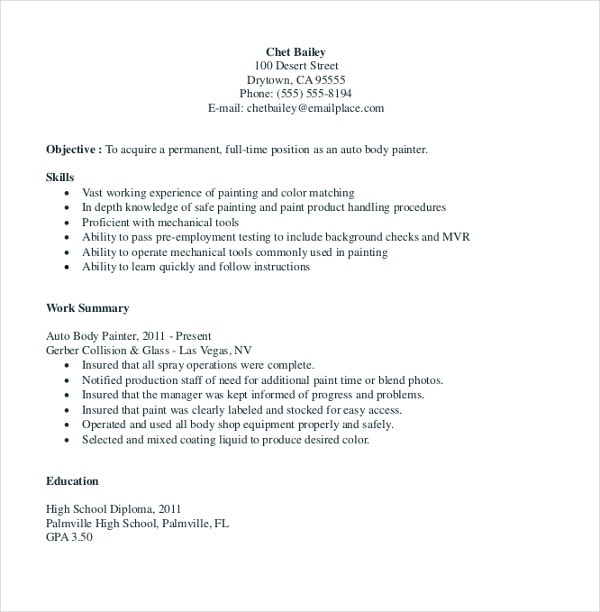 auto painter resume template