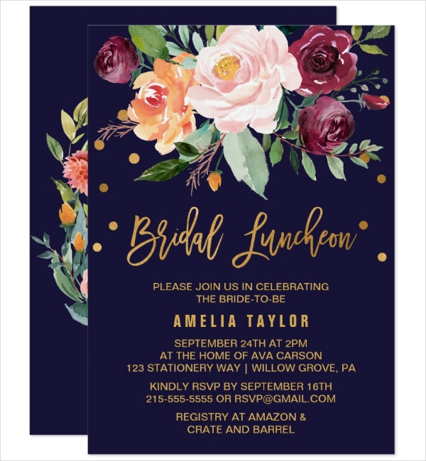 Autumn Bridal Luncheon Invitation
