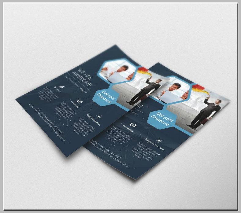 awesome multipurpose hexagon flyer template 788x697