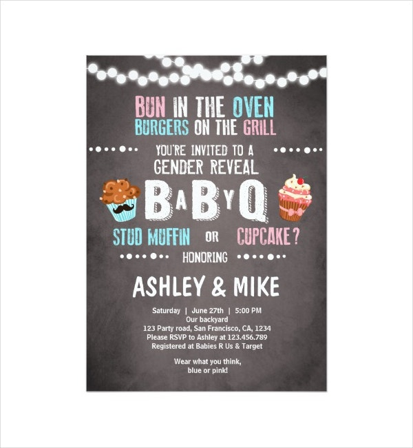 bbq gender reveal announcement template