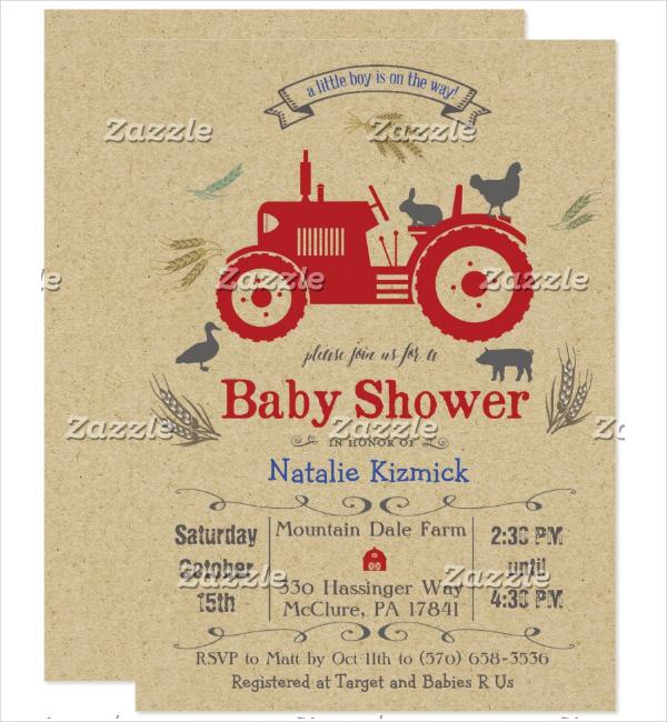 baby shower farm invitation template