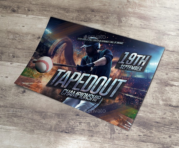 Baseball Championship Horizontal Flyer Template
