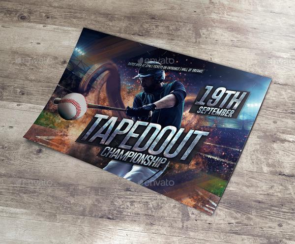 baseball championship horizontal flyer template