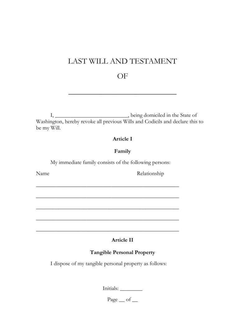 5  last will and testament templates