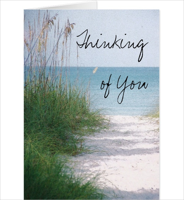 Beach Thinking Of You Card Template