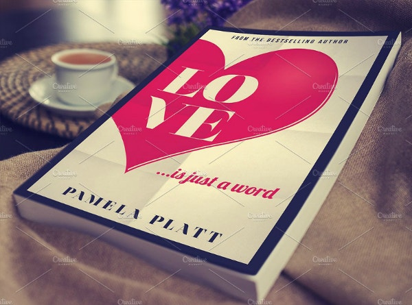 big heart typographic love book cover template