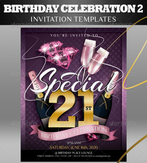 Birthday Celebration Invitation Template