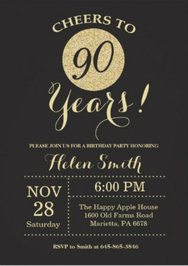 black and gold glitter 90th birthday invitation